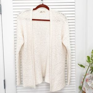 HOLLISTER WHITE POPCORN OPEN CARDIGAN XS